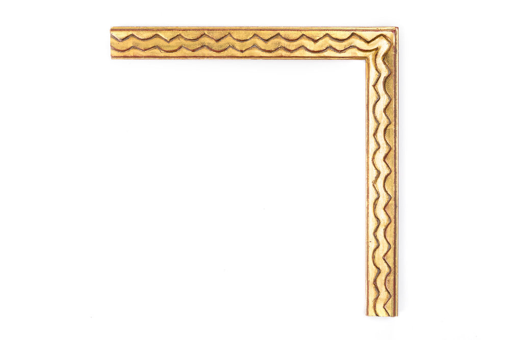 """Gold Picasso Wavy  1 1/4"""" 22kt Gold Cubist-inspired Picasso frame, alternating zig zag step"""