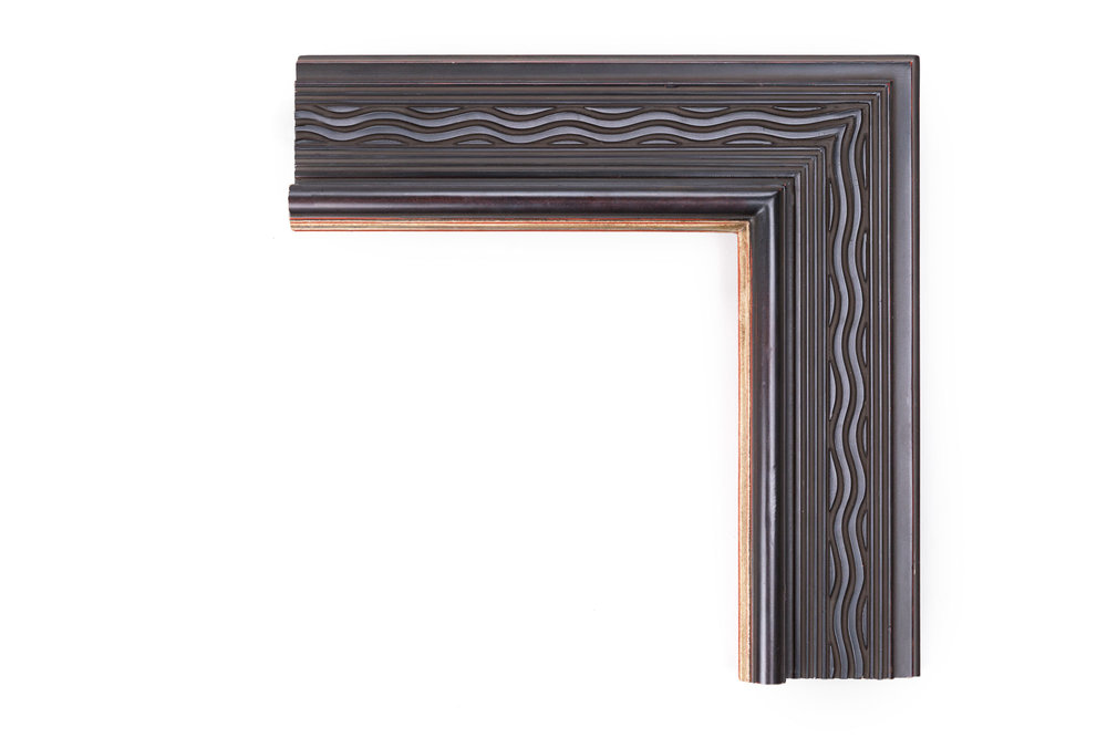 """Charcoal Wavy Fluted Panel  4 1/4"""" Charcoal Wavy Flutes, Raised Front Lip with Gold Edge"""