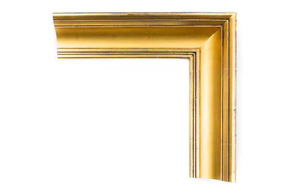 "Uncarved Gold Federal  3 3/4"" Deap Sccop, 22kt Gold over Red, American Federal profile"