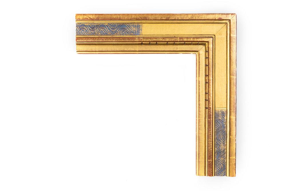 "Badura, Gold & Blue  3"" Bernard Badura-inspired profile, 22kt Gold, Red Clay on Lip and Back Edge,"