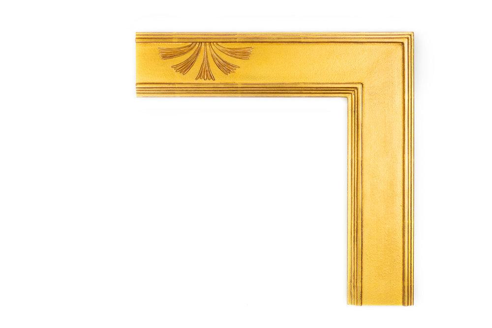 "Gold Sunburst Cassetta  3 1/2"" 22kt gold Cassetta with a single sunburst design panel, influenced by mid-century modern artwork and architecture"