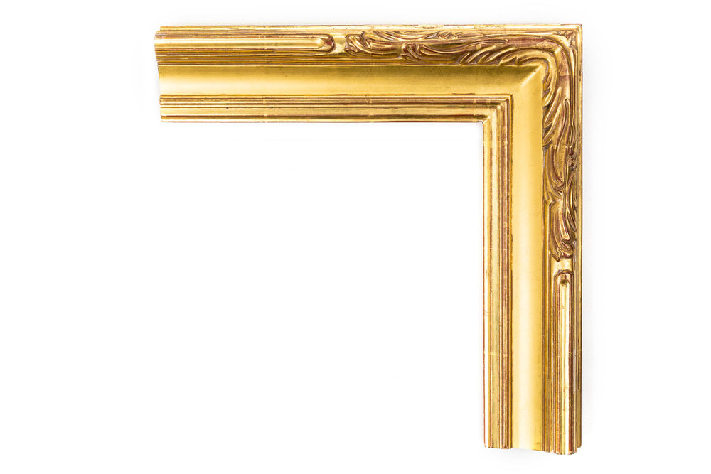 """Art Noveau Cove  3"""" 22kt gold, American impressionsist frame with a nouveau-inspired corner carving"""