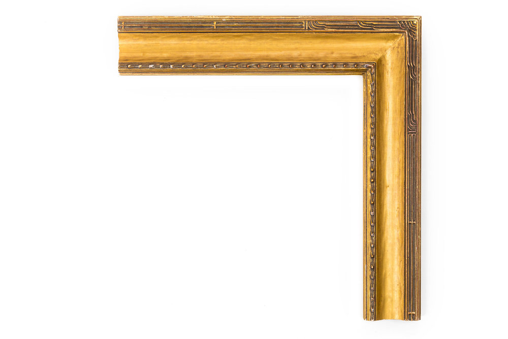 """American Cassetta Wave  2 1/2"""" 22kt Gold, rounded cassetta panel, American impressionist design with influences from Chinese architecture"""