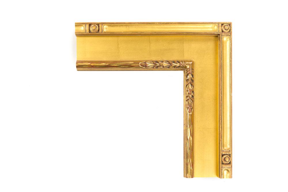 """Flat Panel American Impressionist  4 7/8"""" 22kt Gold Flat panel, American Impressionist, medallions in outer panel, leaf design on inner"""