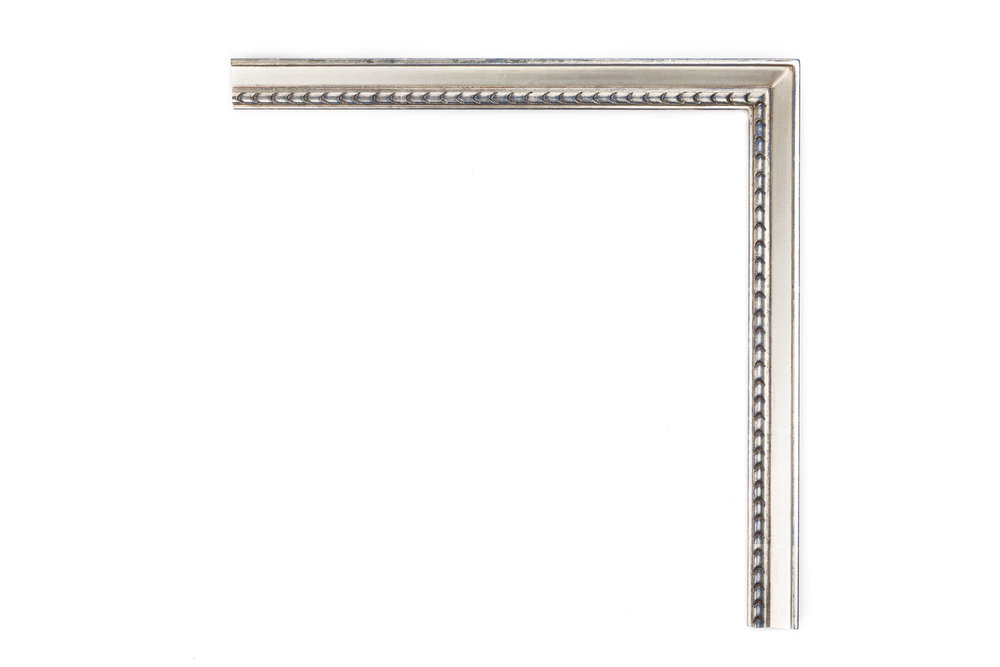 """White Gold with Beads    1 1/4"""" White gold, blue clay, drawing frame with bead detail near lip"""