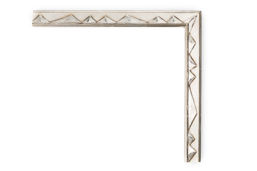 """White Gold with Pyramids  1 1/4"""" White gold, black clay, drawing frame with alternating raised """"pyramids"""" in panel"""