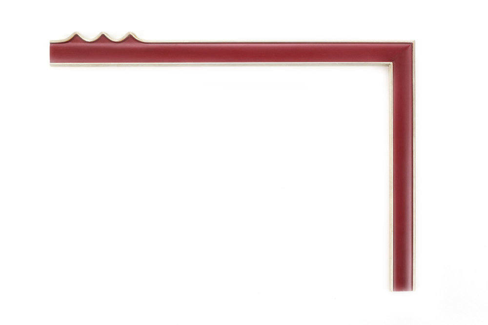 """White Gold, Burgundy Panel  1 1/4"""" White gold with burgundy-painted panel, drawing frame, outer teeth design at center of each panel"""