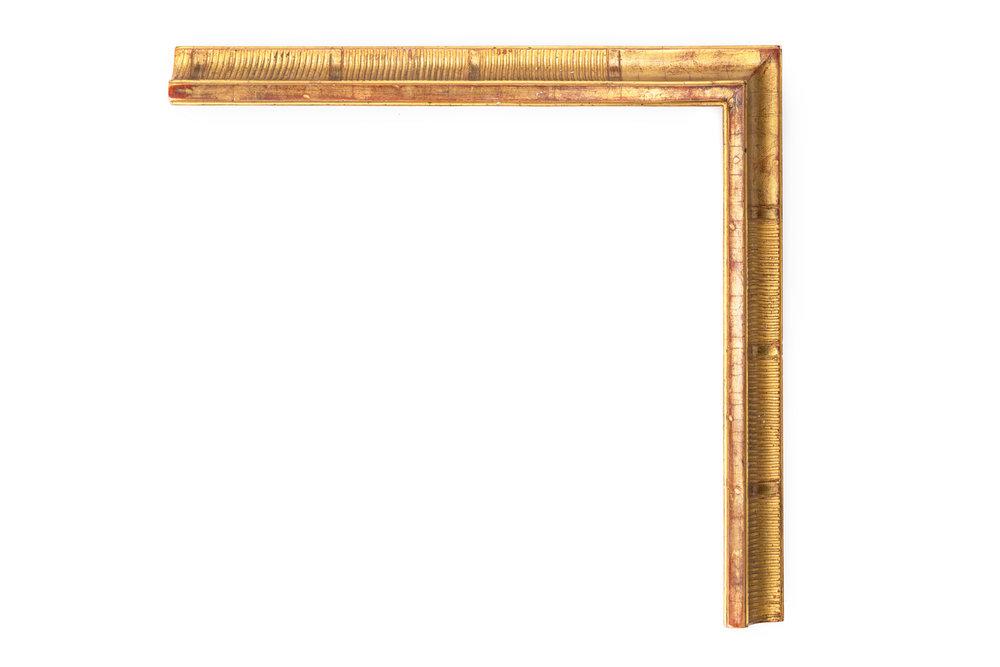 "Gold Comb Swan  1 1/4"" 22kt Gold Swan profile with comb panel, medium rub, medium antique"