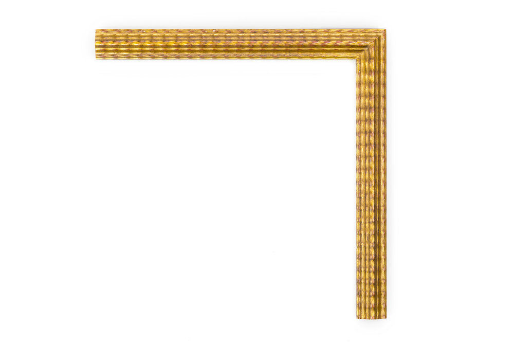 "Gold Dutch Ripple  1 1/4"" Gold Dutch Ripple, Clamshell profile, medium rub, light antique"