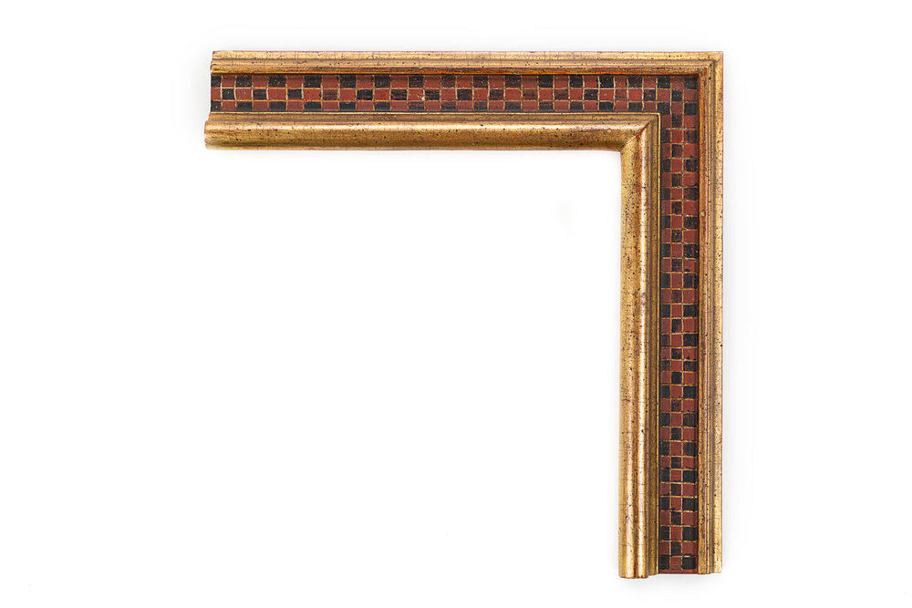 "Check Panel Cassetta  2 5/8"" 22kt Gold raised lip/outer edge, black and red alternating check pattern in panel,Mediterranean/middle eastern influences"