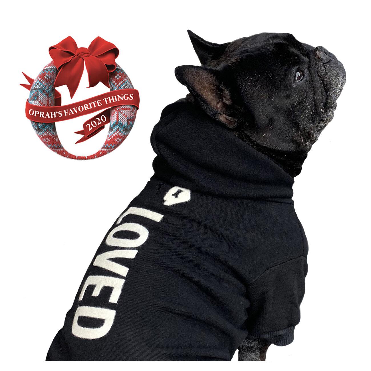 My dog thinks I/'m cool pullover hooded sweatshirt Washed black boho hoodie Cute hipster Dog gifts Womens Hoodie Half Sweatshirt