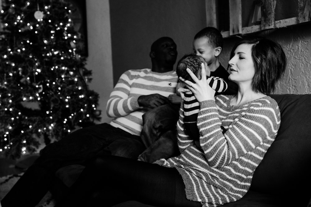 Seattle documentary family photographer Anna Nodolf - in home holiday newborn session in Duvall, WA