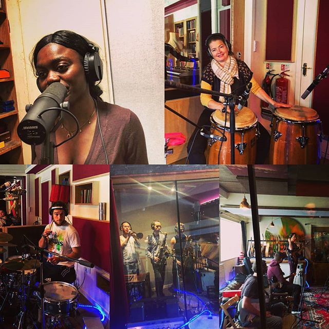 Two huge days on Recording Duty at #HoxaHQ - final day tomorrow and we're all psyched for it! #afrobeat #music #newalbum #9ofus #trackinglive #hornsmakehits