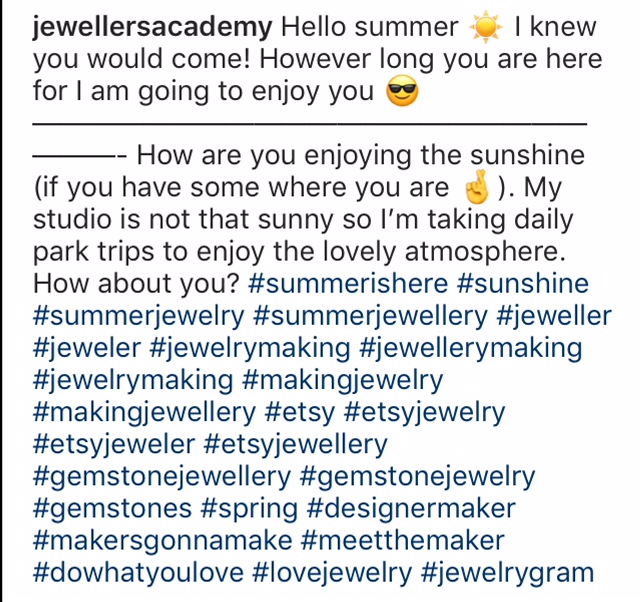 instagram hashtags Jewellers Academy