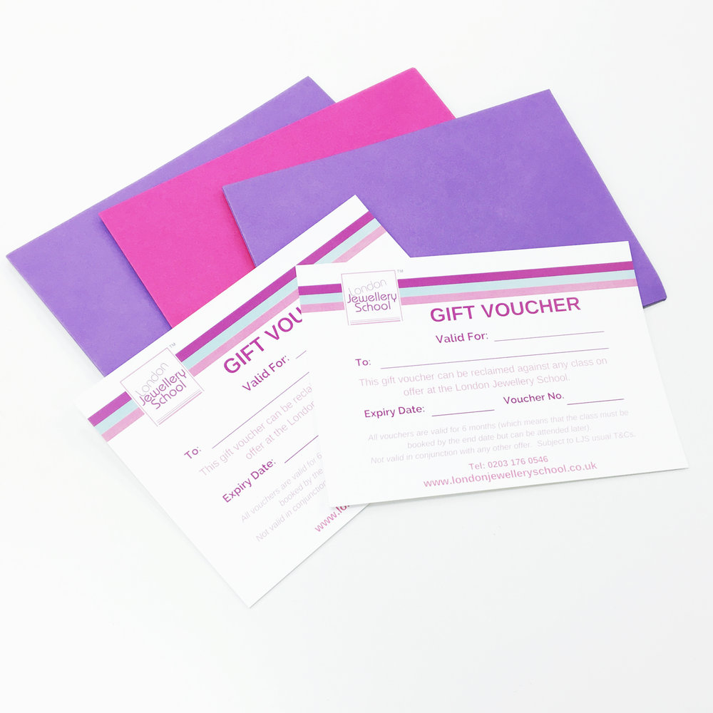Example of gift vouchers from the London Jewellery School