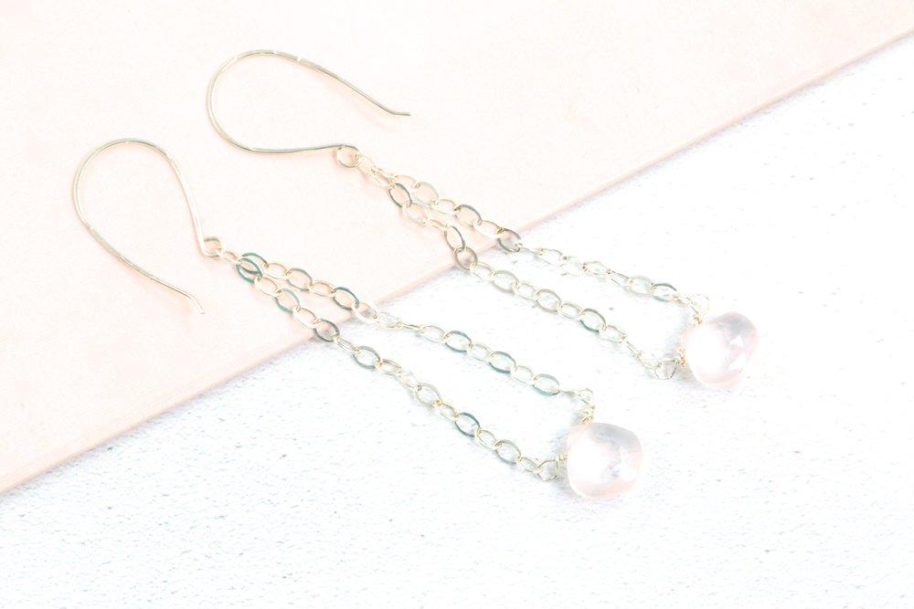 Rose quarts earrings jewellery making.JPG