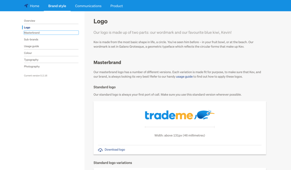 Brand guidelines are now easily accessible to everyone at Trade Me