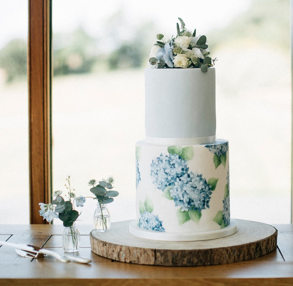 BLUE AND WHITE HYDRANGEA  This petite 2 tier cake has a hand painted base tier completely covered in blue and white hydrangea heads (my favorite flower!) the top tier is covered in complimentary blue with a gorgeous spray of fresh flowers adorning the top! This design would look wonderful over any number of tiers!