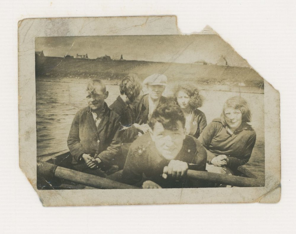 This old photo both pull's hard on my Heart string's and inspires me. It's Crossbost, North Lochs, where I  grew up a couple of generations after this crew. My Granny Mary Isabella is on the far right and various sibling's and freind's join her. On the far left is her brother Kenneth Alexander who died of TB as a young teenager, she called her 1st son, my father after him. Their family had the Post Office so they were used to rowing across the loch to Cromor to collect mail from all of South Lochs. The mail was taken on horse and cart to the Leurbost road end ( where she was later to build a house, 85 Leurbost) then on to Stornoway.