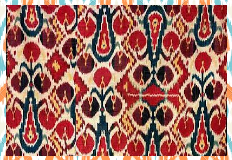 """Ikat - You can find the technique of Ikat in different places around the world, widespread from Asia to Africa. The Ikat we use is typical of its Uzbekistan origins. The term """"ikat"""" refers to the dyeing technique used to create the designs on the fabric. It is a resist dyeing process, where bundles of yarn are tightly wrapped together and then dyed as many times as is required to create the desired pattern. The most notable characteristic of the Ikat pattern is the cloudy, blurry lines of the patterns, which we absolutely love."""