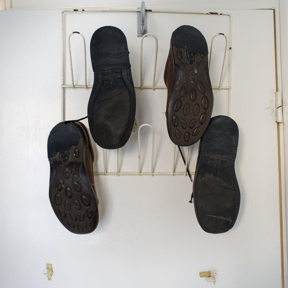 Shoe hanger in the bedroom door