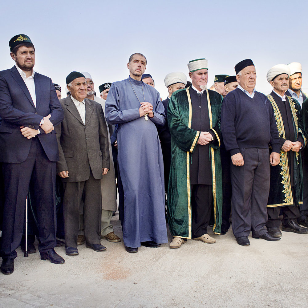 The opening ceremony of a halal slaughterhouse in Sokurji village. It's the first of its kind in the region. In Tatarstan it is tradition to invite representatives of all local faith groups to official events. Father Fjodor regularly attends and speaks at events like this.