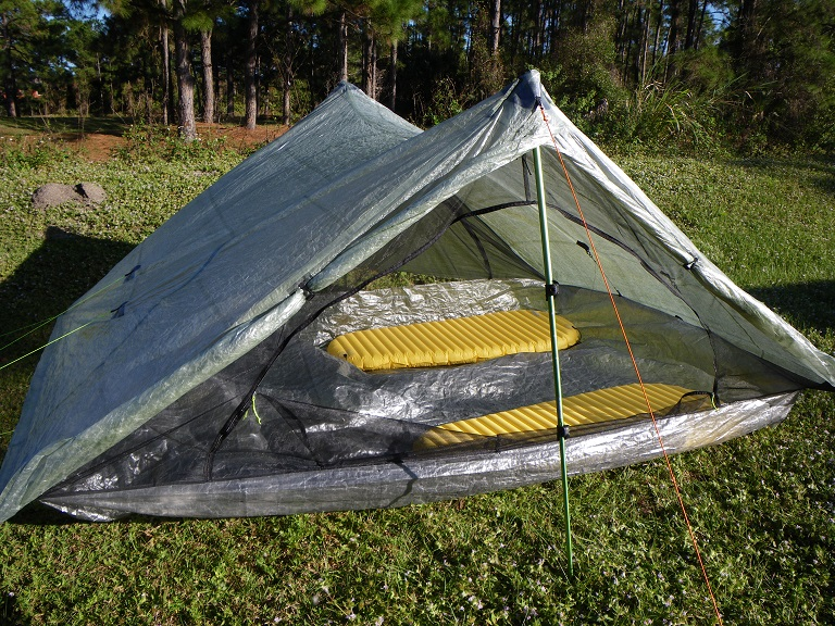 Zpacks Triplex is extremely spacious for two hikers and has plenty of access.