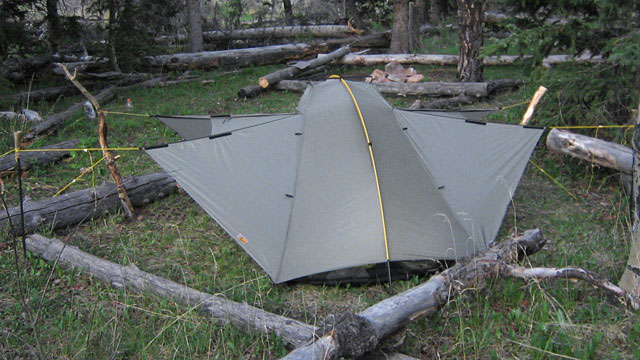 The Tarptent Double Rainbow has two vestibules that can be raised open to provide ventilation and views, even in rain.