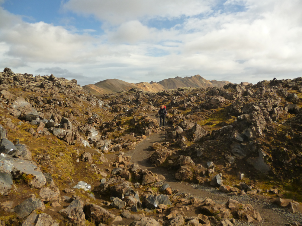 The start of the trail near Landmannalaugar is well formed, since it is a popular area for day-hikers too.