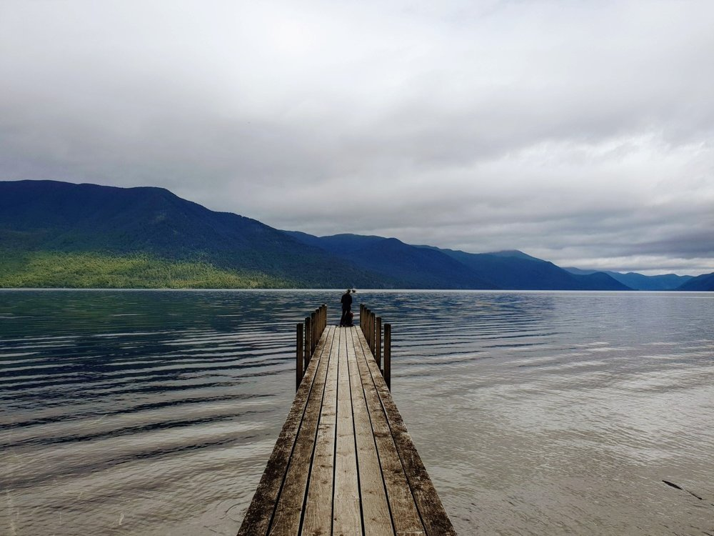 The jetty at Sabine Hut makes for an easy exit via the water taxi to Rotoroa village.