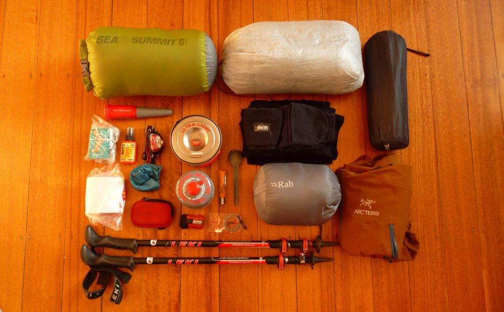 Backpacking requires you to carry all of the gear you need to survive out in the wilderness! — This photo shows most of  the gear I take on a backpacking trip .