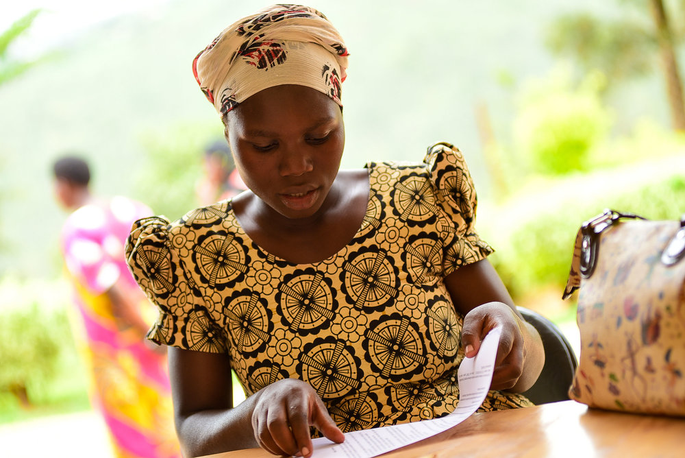 Enrollment for GHI's Antenatal Care Program at Nyacyonga Health Center in Gasabo District.