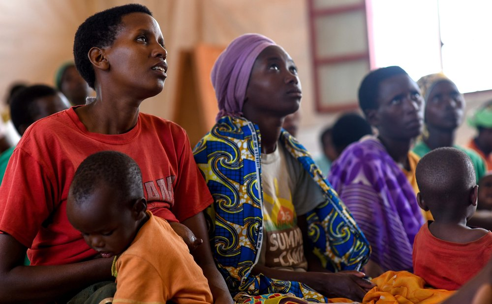 Women in attendance to an agriculture training held by GHI at Mahama refugee camp.