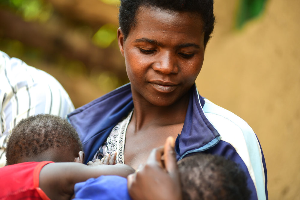 Mukandayisenga Generese graduated from Busogo Health Center a year ago. Her twins are healthy and thriving.