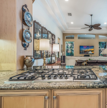 The granite in this Laurel Oak home features tons of movement and is a statement piece for the kitchen.