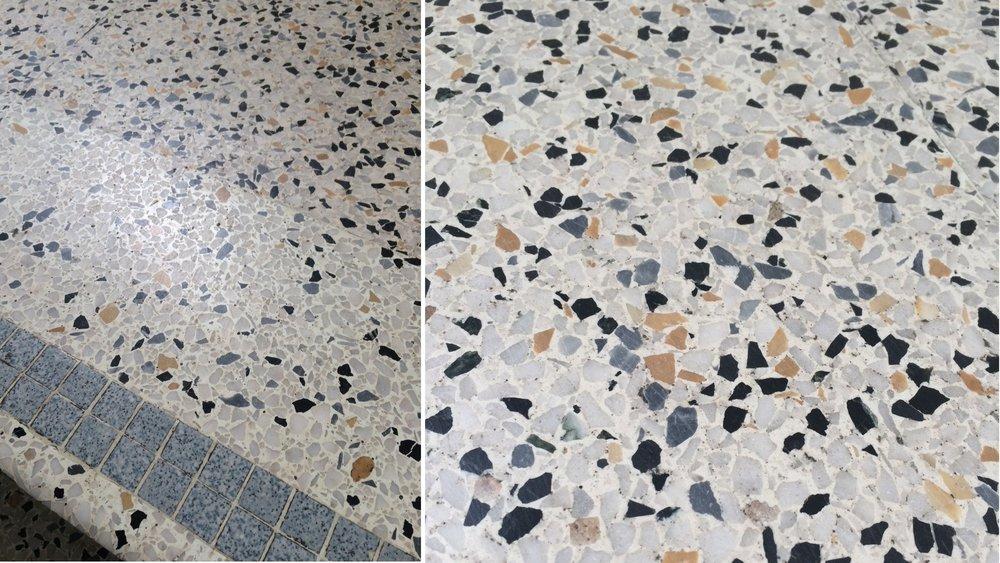 Terrazzo flooring in an art school