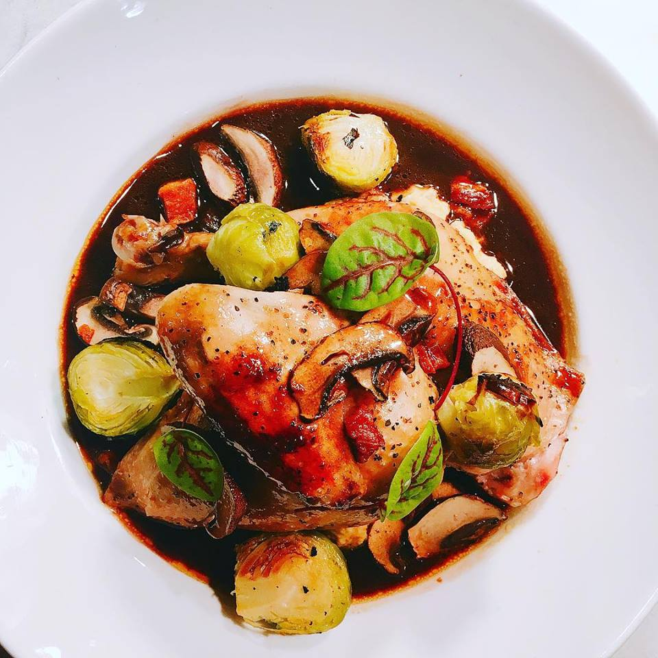 Half Chicken Coq Au Vin   corn polenta, roasted brussels sprouts