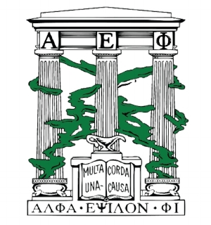 CREST - The three columns Α, Ε & Φ stand for faculty approval, student esteem and sorority fidelity