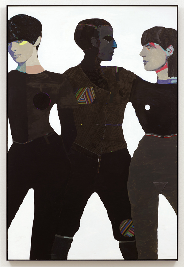 Lothar Hempel  Die drei Frauen (2013) Acrylic paint, watercolor, oil, crayon and pencil on aluminium