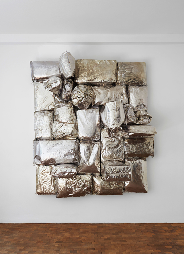 Jim Lambie  Soul Machine  (2016) Potato bags, expanding foam, chrome paint on canvas approx. H 210 x W 178.5 x D 72 cm