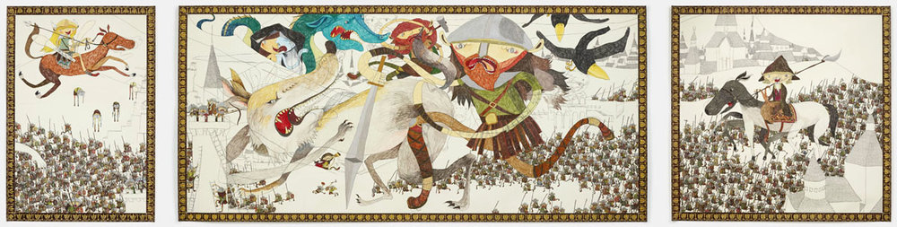 Shintaro Miyake  Viking Age  (2013) Pencil, color pencil, acrylic, collage on paper 124.5 x 269.5 cm; 124.5 x 129.5 cm; 124.5 x 86 cm (set of 3)