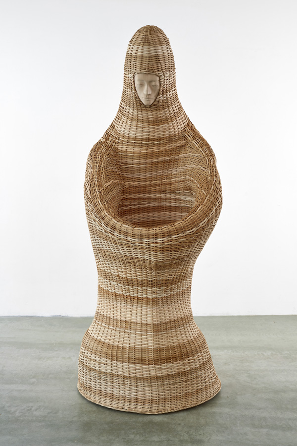 Paloma Varga Weisz  Basket woman  (2016) Wicker, carved lime wood, steel rods approx. 240 x 100 x 100 cm Unique