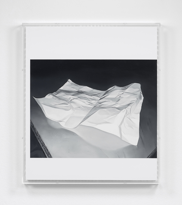 James White  Paper (2016) Oil and varnish on acrylic faced honeycomb panel in perspex box frame 73 x 63 x 6 cm (framed)