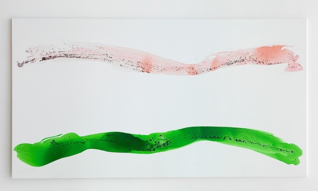 Georg Herold  Ohne Titel  (2011) Caviar, acrylic, lacquer on canvas 203.5 x 380 cm