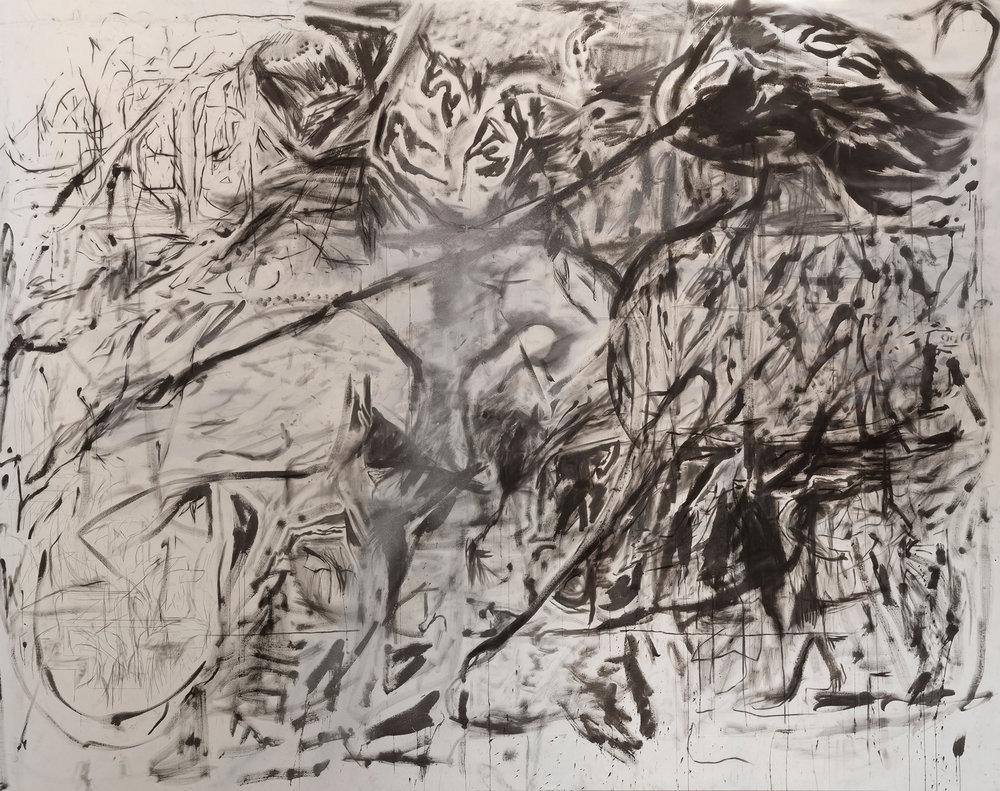 Peppi Bottrop,  tbt , 2019, graphite, charcoal, aluminium pigment on canvas, stretched dimensions 3,1 x 3,9m