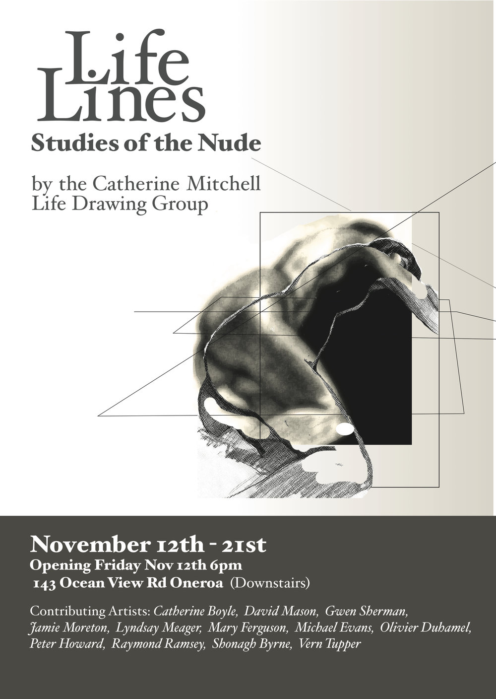 Poster created for group Life Drawing Exhibition, Waiheke Island, NZ