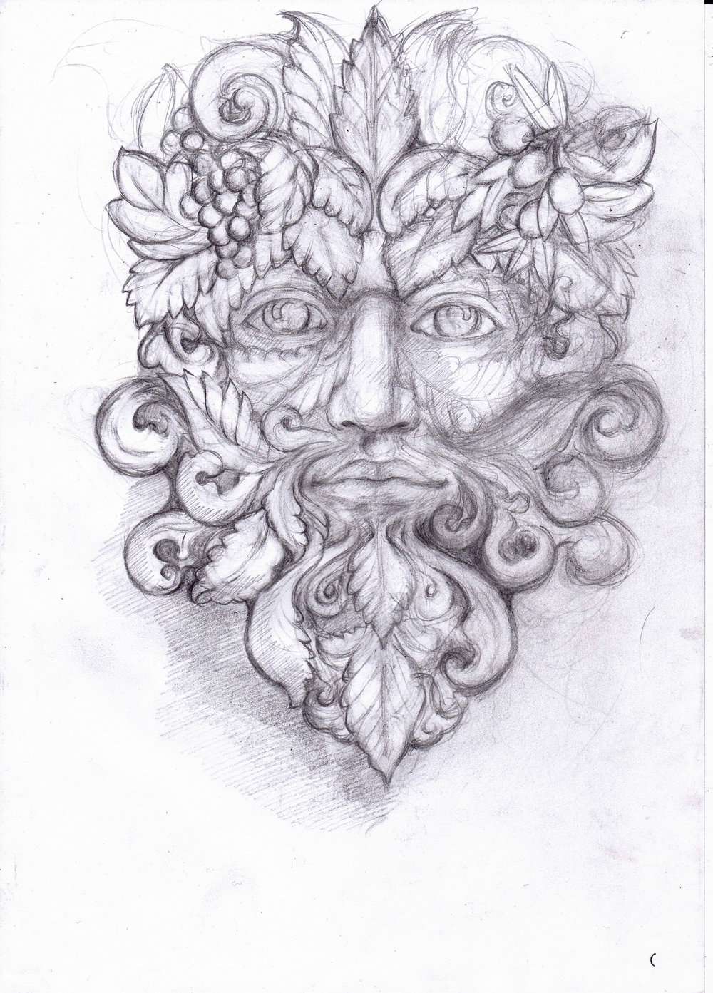 As an added ornamental feature I was commissioned to design a sculpture of the Green Man, symbolizing growth and rebirth, which would then be cast in bronze and mounted on the central keystone of the arch. I began with a pencil sketch that was approved by the client after a couple adjustments.