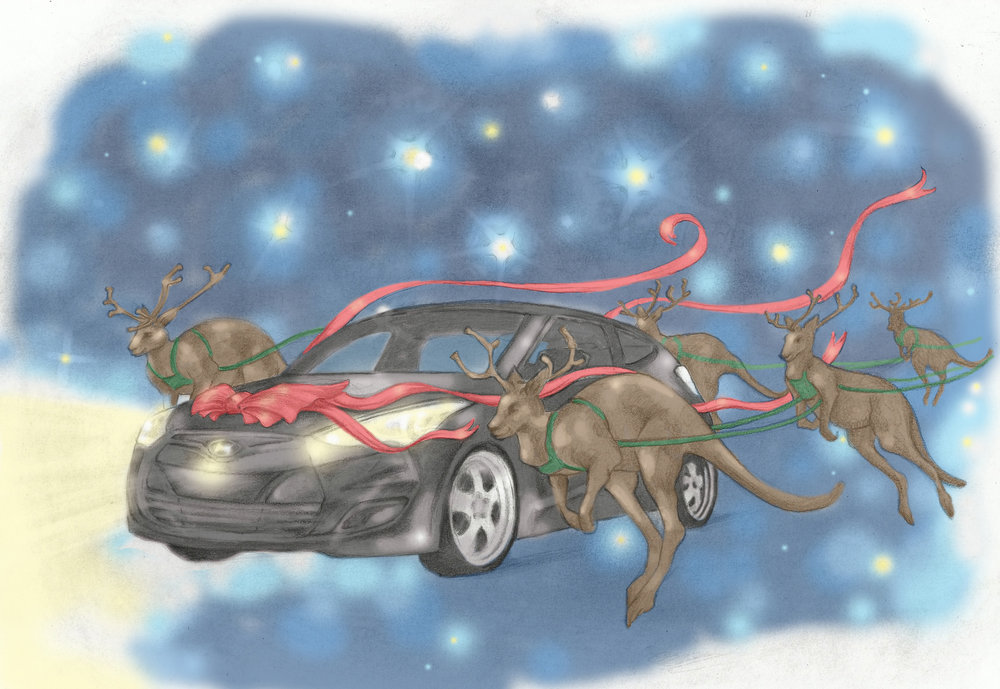 Christmas card illustration for Hyundai Australia  Graphite pencil, colored in Photoshop