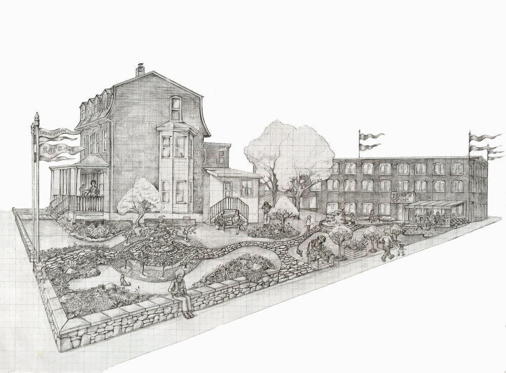 Community Garden and Cafe Concept Drawing (must include seven cats)  Graphite pencil on graph paper