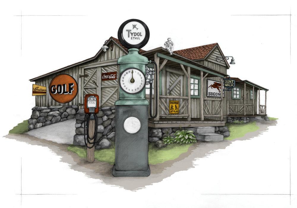 Adirondack Cabin  Graphite pencil, colored in Photoshop